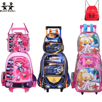 d76f997c104b wenjie brother new Children Kids school bags With Wheel Trolley Luggage set backpack  Mochila Infantil Bolsas