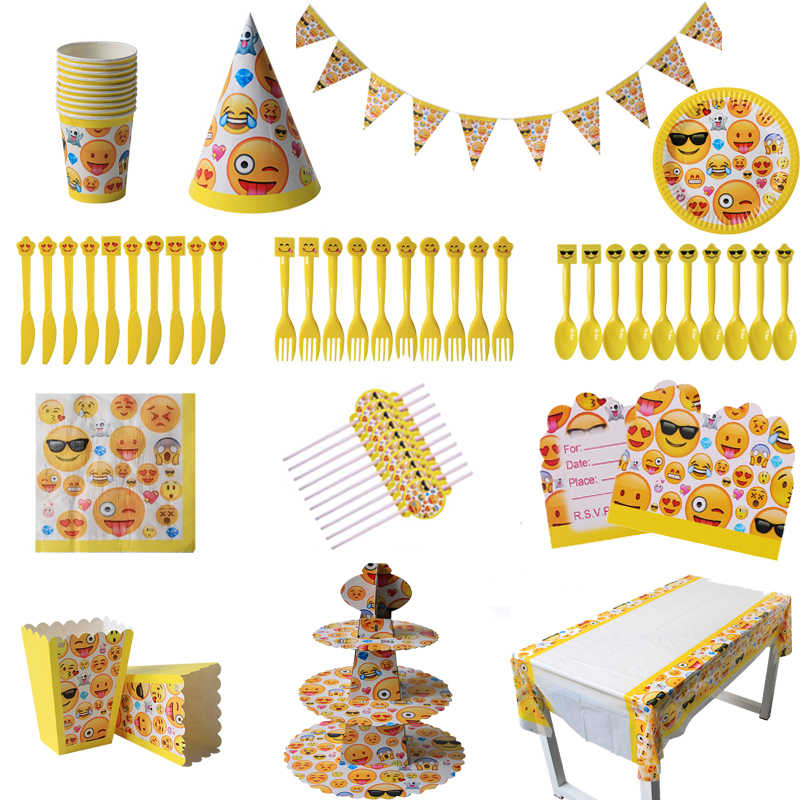 WEIGAO Lachend Emoji Party Smiley Gezicht Wegwerp Servies Servetten Papieren Borden Cups Baby Shower Verjaardagsfeestje Decoraties