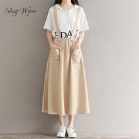 Shugo Wynne Mori Girl Skirts 2017 Autumn New Women Vintage Cotton Linen Casual A Line Skirts