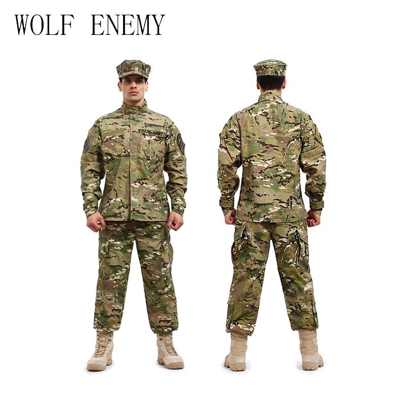 U.S Army BDU German Camouflage suit Tactical Military combat Airsoft uniform -jacket + pants men medical clothing set