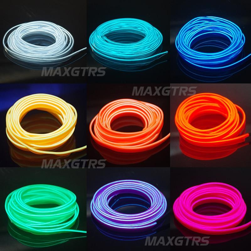 5M Car Flexible Neon Cold Light Glow Car EL Wire EL Strip EL Tape EL ...