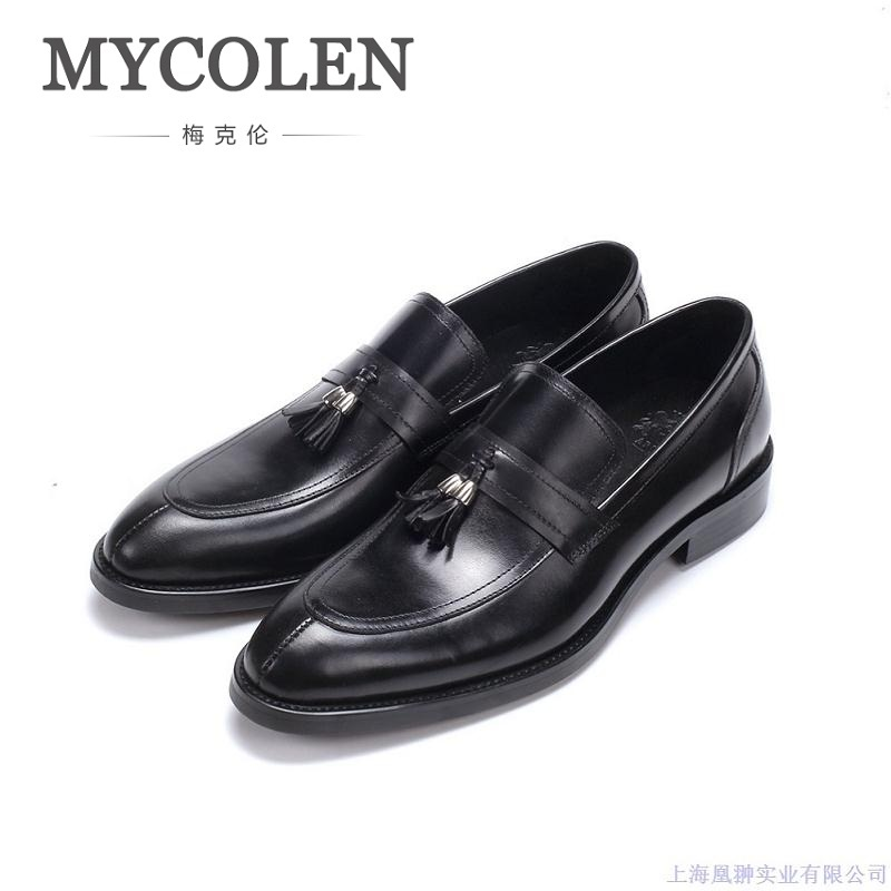 MYCOLEN New Fashion Mens Genuine Leather Cow Pointed Toe Slip On Hot Sale Formal Shoes Minimalist Design Dress Shoes Schuhe new hot sale women shoes breathable buckle slip on for women comfortable dress shoes genuine leather white colour free shipping