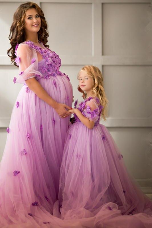 Mutter Tochter Brautkleider Mama Mama und Baby Passende Kleidung Lila Rosa Regenbogen Schwester Passender Kleidung Familie Blick Kleid - 6