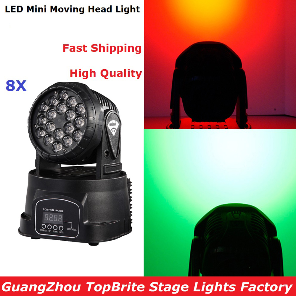 8Pcs/Lot Mini LED Moving Head Light Good Quality 18X3W RGB Mini Wash With 8/13 DMX Channels For Professional Stage Dj Lights 6pcs lot good quality 7 12w mini rgbw led moving head light laser christmas party lights 12 months warranty