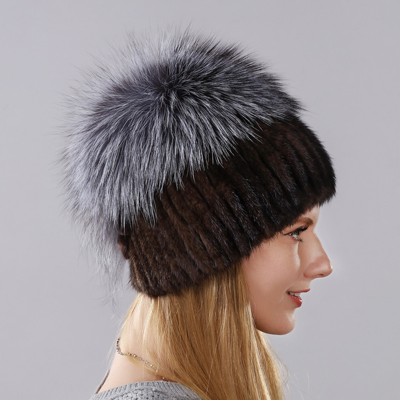 women's warm winter hat Imported mink and high-quality silver fox fur cap with rabbit fur Grape grains shape behind can as gift