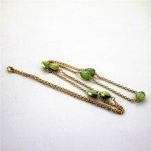 Frete grátis nova moda senhoras jóia longa camisola cadeia colar de pedra sintética orange verde menina acessórios de cabelo