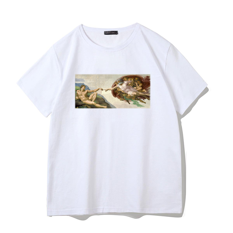 Michelangelo Famous Painting Print   T     Shirt   Men Fashion Short Sleeve Tops Streetwear Sistine Chapel Pattern Men's   T  -  shirt   S5MC75