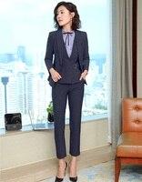 2019 Formal Elegant Women's Blazers Trouser 3 Piece Waistcoat Pant and Jacket Sets suits Blue Striped Blazers Vest Uniforms