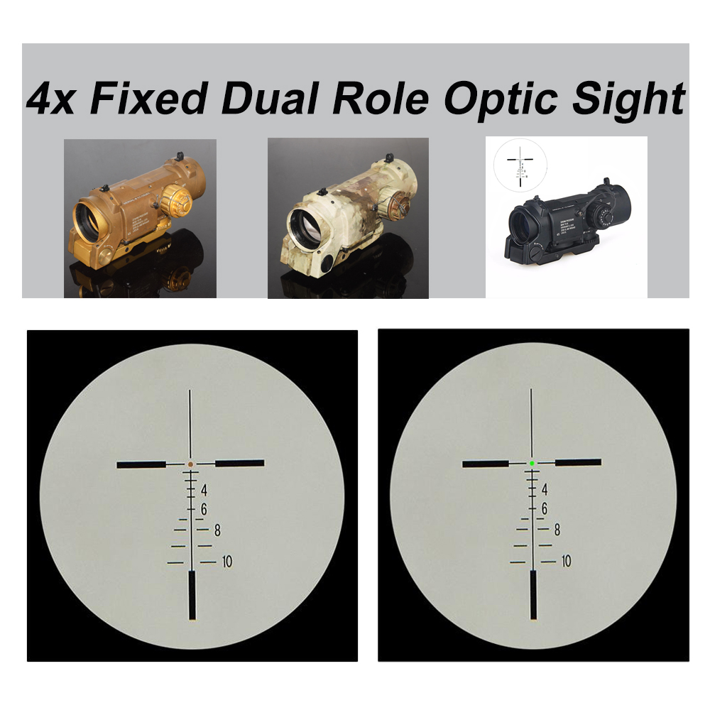 WIPSON Tactical Free Shipping 4x Dual Role Optic Sight Tactical Rifle Airsoft Scope Magnificate Scope For Hunting