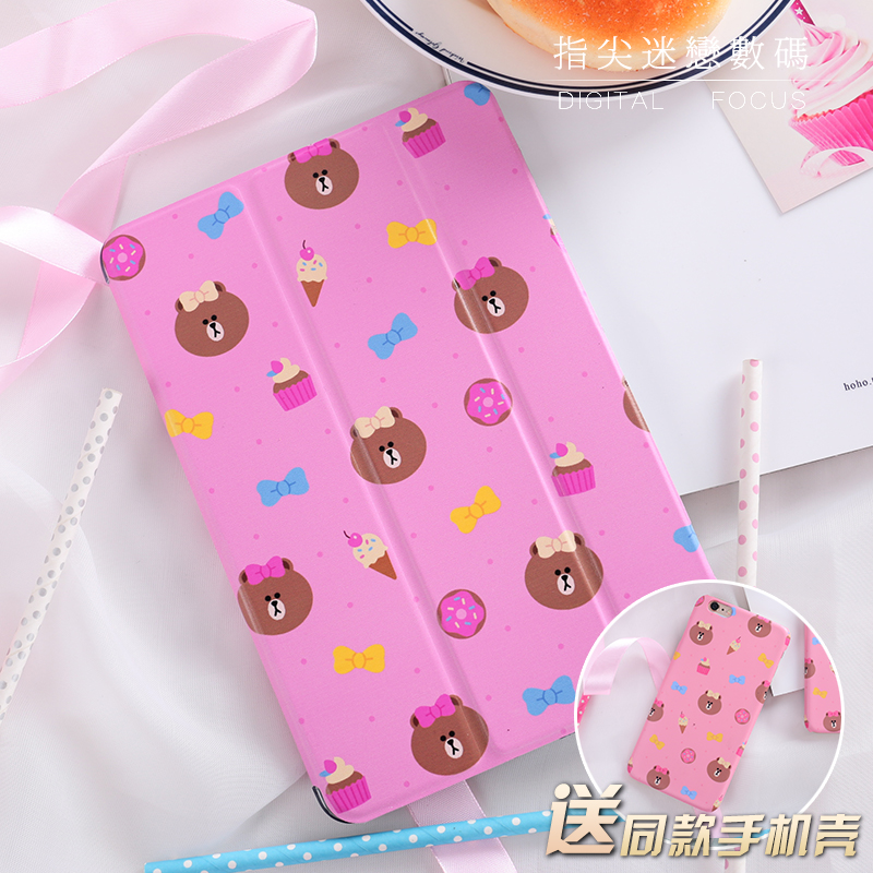 Magnet Cartoon Bear Flip Cover For iPad Pro 9.7 Air Air2 Mini 1 2 3 4 Tablet Case Protective Shell For New ipad 9.7 2017 cartoon cute cat flip cover for ipad pro 9 7 air air2 mini 1 2 3 4 tablet case protective shell for new ipad 9 7 2017