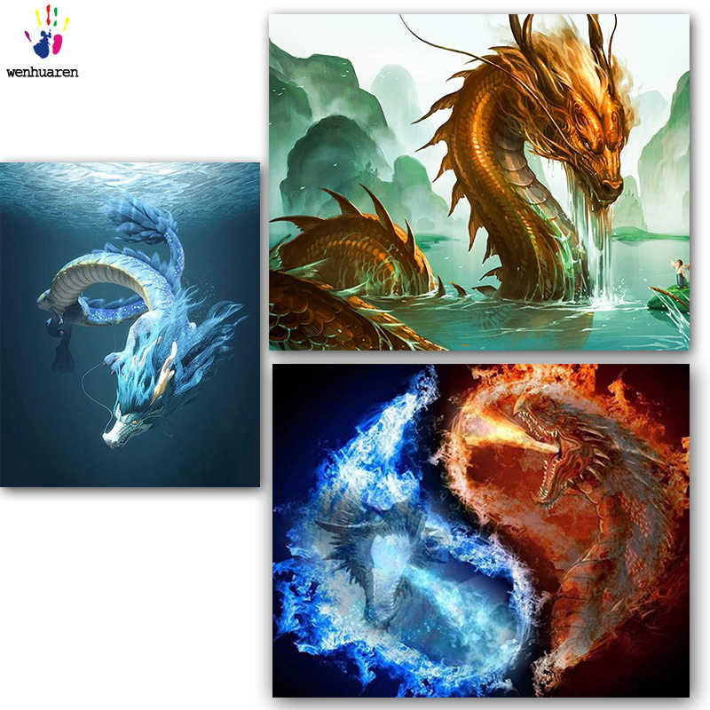 DIY colorings pictures by numbers with colors The flying dragon painting drawing painting by numbers framed Home