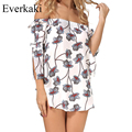 Everkaki Off shoulder floral summer dress Print Vintage high waist beach dress women 2017 Sexy short Slash Neck dresses vestidos