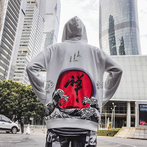 Image 2 - Sudaderas con capucha de calle japonesa Harajuku, Sudadera con capucha Dhyana Kanji de gran tamaño Swag Tyga, sudaderas con capucha, S XL de talla de EE. UU.