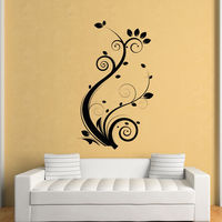 Free Shipping New Arrival Wholesale Flower Wall Sticker Plant Home Decor Shop Wall Stickers PVC Stickers