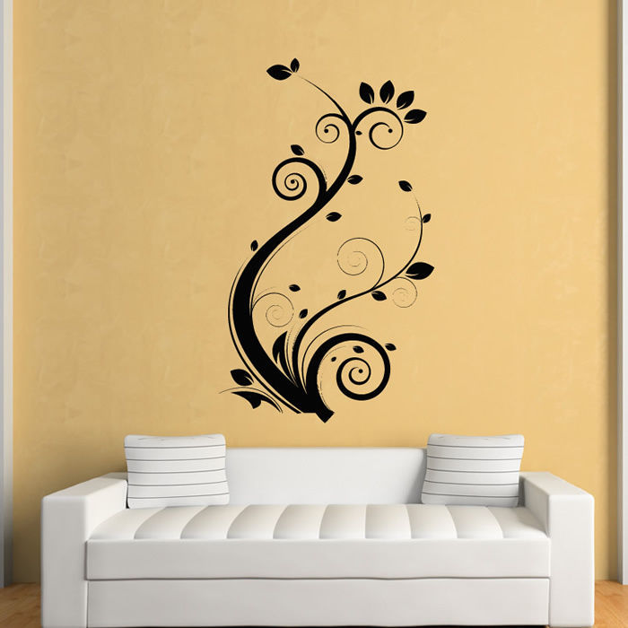 flower wall sticker plant design room pvc wall sticker flower