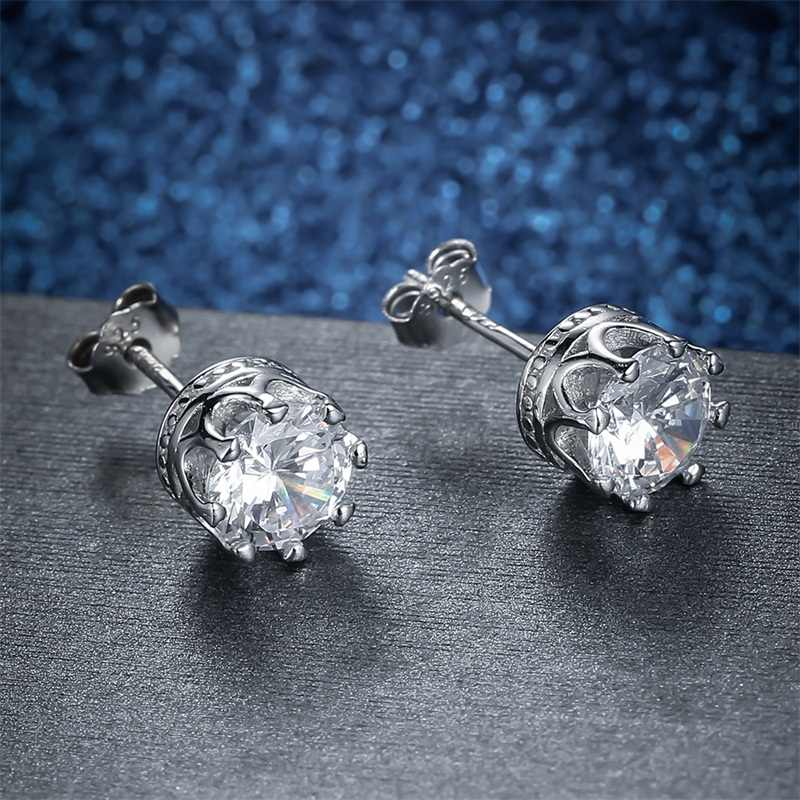 AZIZ BEKKAOUI Authentische 925 Sterling Silber Klassische Klar Cubic Zirkon Kleine Krone Stud Ohrringe für Frauen Silber Schmuck