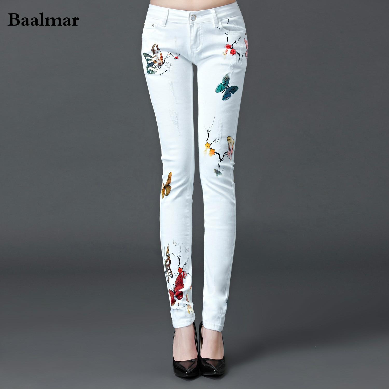 Baalmar Jeans Woman 2017 Spring Mid Waist Jeans Female Casual White Boyfriend Jeans Pants Capris Skinny