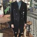 5XL dos homens trench coats do homem da Moda trespassado longo casaco de ervilha trench slim fit clássico preto & cinza trenchcoat como presentes
