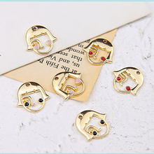2pcs korea cute alloy drop oil small beauty woman face pendant earrings for women girl material diy handmade jewelry accessories