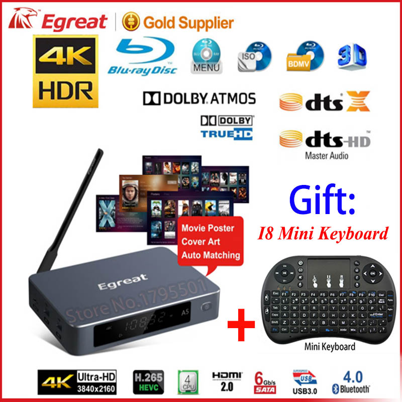 Egreat A5 Smart Android ТВ коробка 3D 4 К UHD Media Player и HDR USB3.0 SATA оты Blu Ray Disc Dolby ture HD DTS HD [Русский Английский]