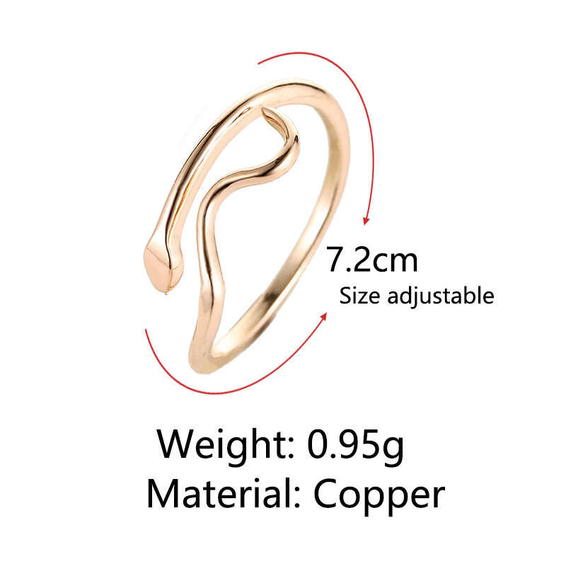 Simple งูรูปร่างเปิด celebrado Golden เงินปรับแหวนสำหรับสตรี