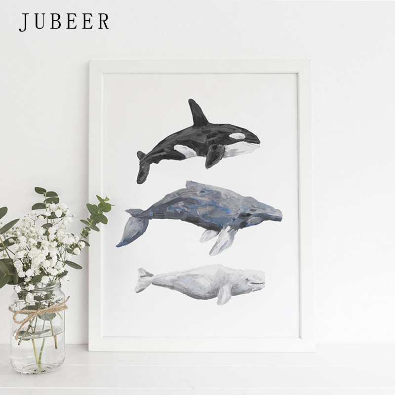 Nordic Style Whale Painting Print Orca Humpback And Beluga Nautical Nursery Wall Art Canvas Poster Animal Decorative Picture