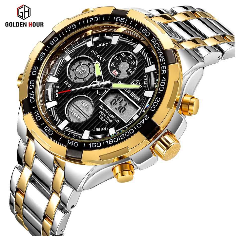 60a6f35a60e GOLDENHOUR Luxury Brand Quartz Wrist Watch Analog Digital Watches Men Army  Military Sport Watch Relogio Masculino