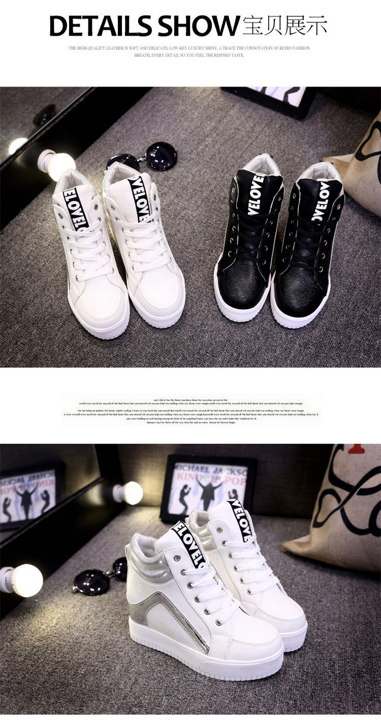 Height Increasing Women Casual Shoes 2015 High Top Mixed Colors Platform Ladies Shoes Breathable Lace Up Autumn Ankle Boots S28 (7)