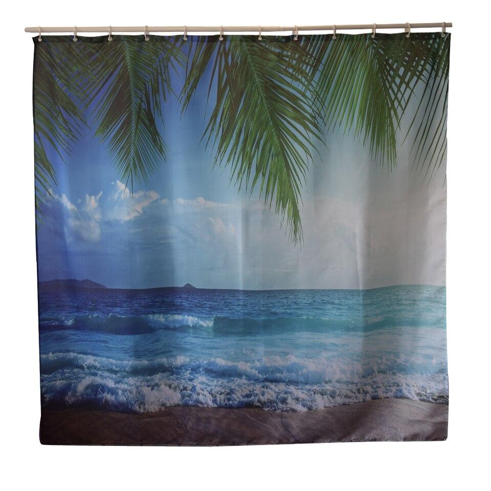 Papa&Mima beach Waterproof Shower Curtains Polyester Bathroom Curtains With Hooks 180x180cm Decorative Bathtub