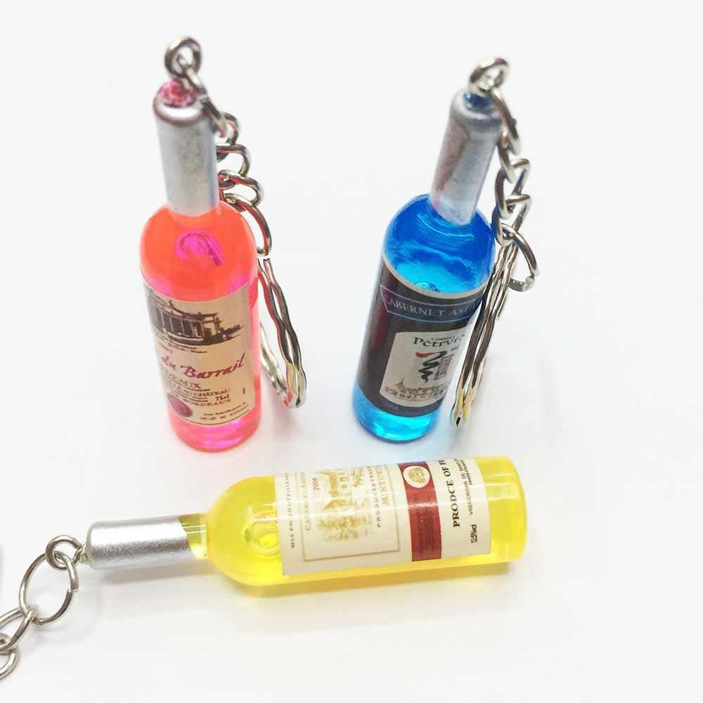 YGLCJ 2019 New 1PCS Women'S / Men'S Fashion Handmade Harajuku Resin Bottle Key Ring Key Ring Alloy Charm Fashion Jewelry Gift