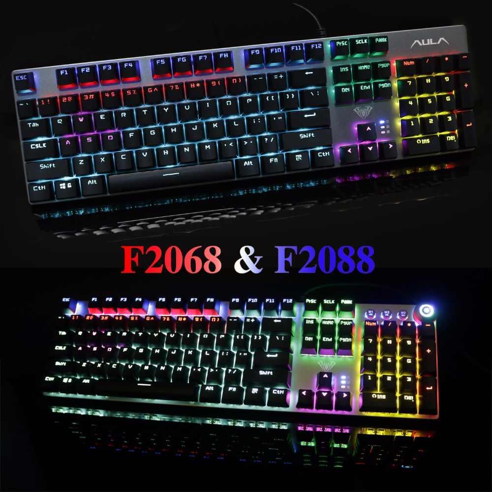 لوحة مفاتيح ميكانيكية من AULA للحاسوب بها 104 مفتاح USB مزيج بإضاءة خلفية LED لون أسود وأزرق وأحمر للوحة مفاتيح الألعاب الروسية والإسبانية والعبرية والعربية