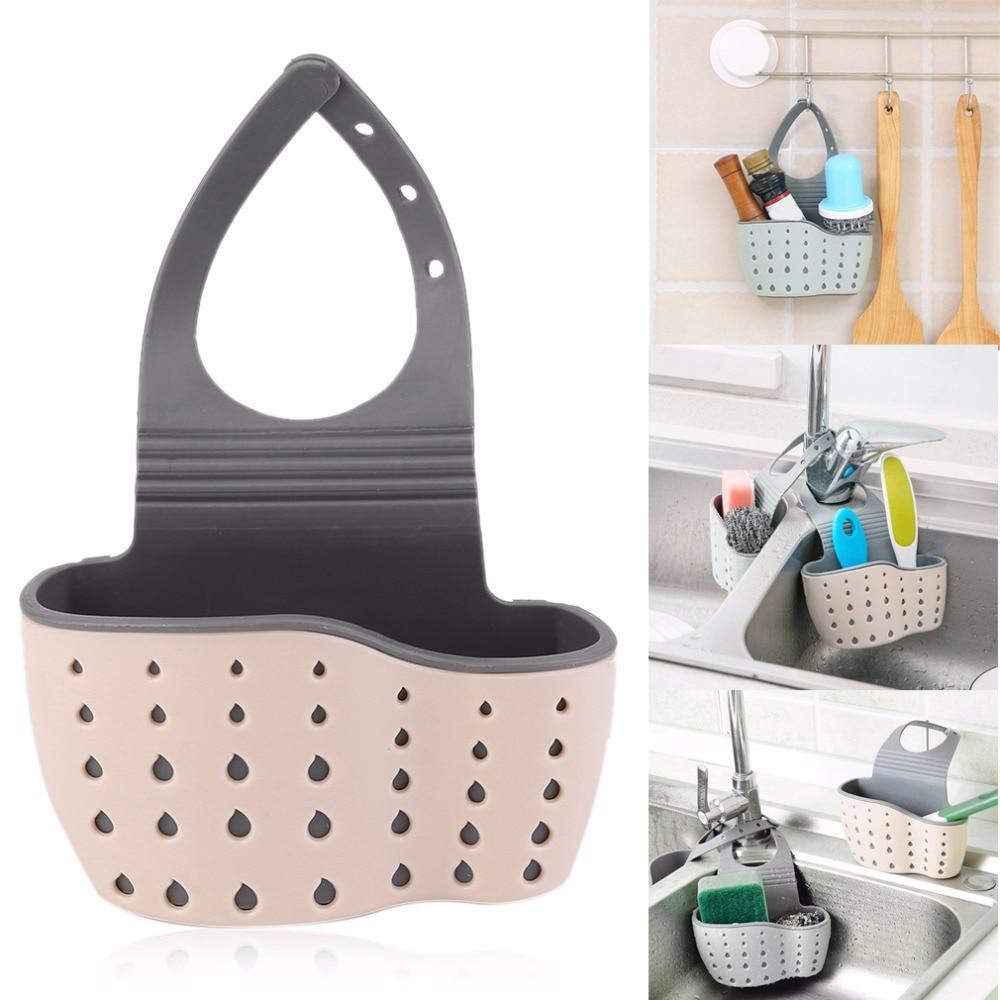 AMW 2 colori cucina regolabile appeso scolapiatti lavello ripiano portasapone in spugna bagno scolapiatti cucina attrezzo di stoccaggio ventosa