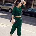 100% Silk Clothing Set Women's High Quality silk Blouse + pants 2 piece clothing set Black/Red/Green Summer Set