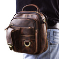 "New Top Quality Genuine Real Leather Cowhide men vintage Brown Small Messenger Belt Bag Waist Pack 5"" Phone Case  3004"