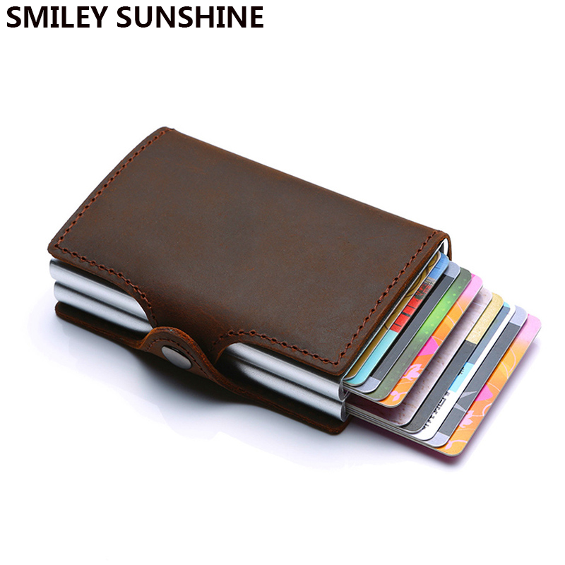 Rfid Wallet Bank Card Holder Passes Leather Protector Business id Credit Card Holder Metal Secure id Wallet for Credit Cards