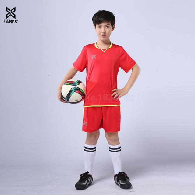 High quality boys football uniforms child soccer jerseys kids custom team soccer jersey 2019 running sports suits new arrival