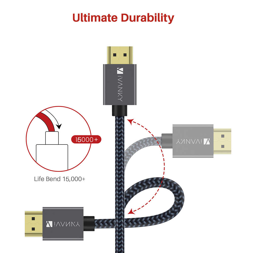[Пожизненная гарантия] кабель iVANKY HDMI 4K @ 60 Гц, алюминиевый сплав 4K UHD кабель для высокоскоростной передачи данных HDMI для 3D Xbox Playstation, PS4, ПК, ТВ