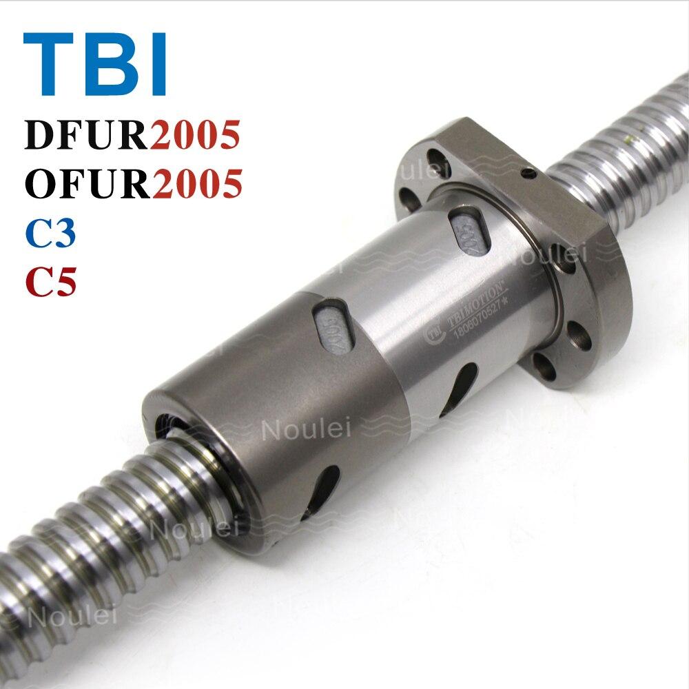 лучшая цена TBI C3 C5 2005 Ball screw 5mm lead with DFU2005 OFU2005 Double Ballnut CNC anti backlash 1000mm 300mm 400mm 500mm 600mm 800mm