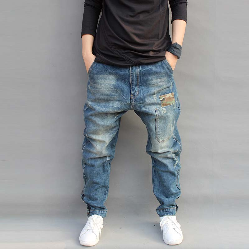 Mens   Jeans   Casual Joggers Plus Size Hip Hop Harem Denim Pants Camouflage Patchwork Quality Trousers Blue M-6XL