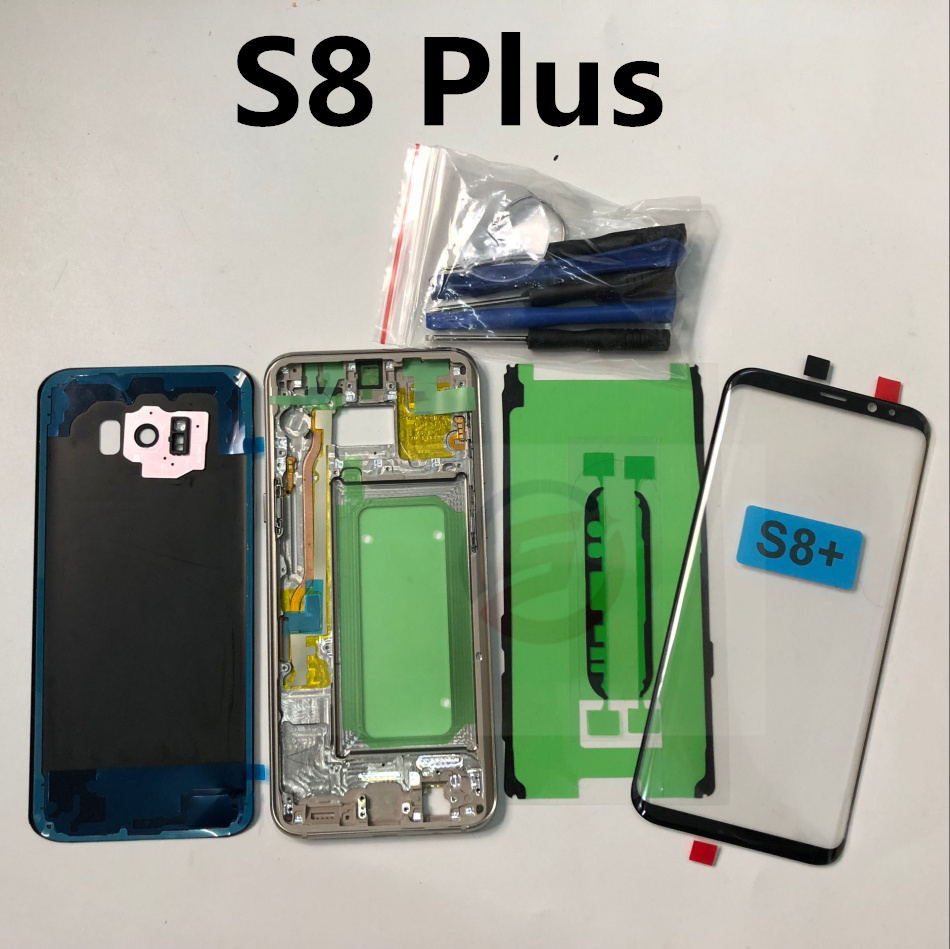 S8+ S8 Full Housing Case Back Cover  Front Screen Glass Lens + Middle Frame For Samsung Galaxy S8 Plus G955 G955F Complete Parts