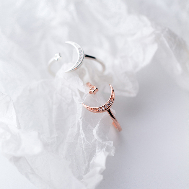 925 Sterling Silver Adjustable Women Rings Rhinestone Moon Star CZ Wedding Rings for Women Girls Party Wedding Jewelry 2020 5