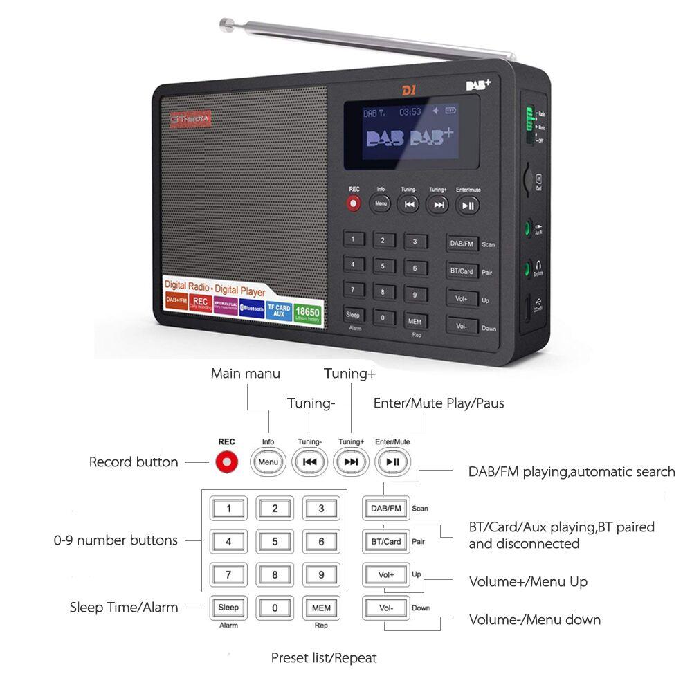 D1 портативный Bluetooth радио приемник DAB FM MP3 радио плеер tf карты радио Поддержка FM RDS название станции дисплей и будильник - 5
