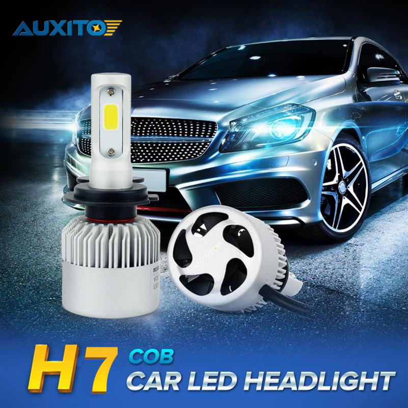 AUXITO H7 COB LED Car Headlight Bulbs 80W 16000LM Car LED Headlights Bulb Automobile Headlamp Fog Light DRL 6500K 2pcs set 72w 7200lm h7 cob led car headlight headlamp auto lamps led kit 6000k headlight bulb light car headlight fog light
