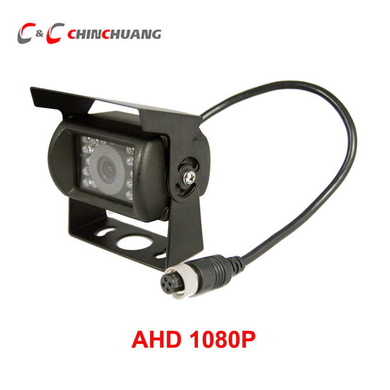 AHD 1080P Car Backup Rear View Reverse CCD Camera 18 IR LED Night Vision Waterproof for Truck Bus RV Caravan Van Trailer 4-Pin factory truck bus camera ahd ccd rear view camera 24v truck camera iveco isuzu truck van trailer buses waterproof camera