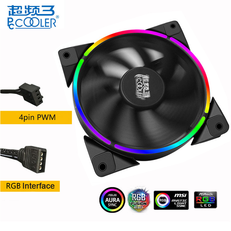 PCCOOLER CPU AURA RGB Cooling Fan 120mm PC Case Cooler Fans 4 Pin PWM Ultra Quiet LED Adjustable for CPU Cooler Computer cooling fan replacement d12bm 12d 4 pin connector pwm 12038 12v 2 3a 6000rpm for antminer bitmain s7 s9 useful