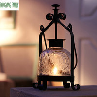 Europe Decor Portable Candlestick Retro Style Iron Glass Lantern Candle Holder Home Romantic Wedding Decoration Candle Stand Art