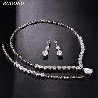 BUDONG Sparkling Gold Color Bridal Jewelry Sets Wedding Necklace Earrings Bracelet For Brides Authentic Women Engagement XUT805
