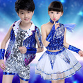 2017 Kids Jazz Dance Skirt Set Popular Children Shining Paillette Petal Skirt Hip-hop Dance Costume
