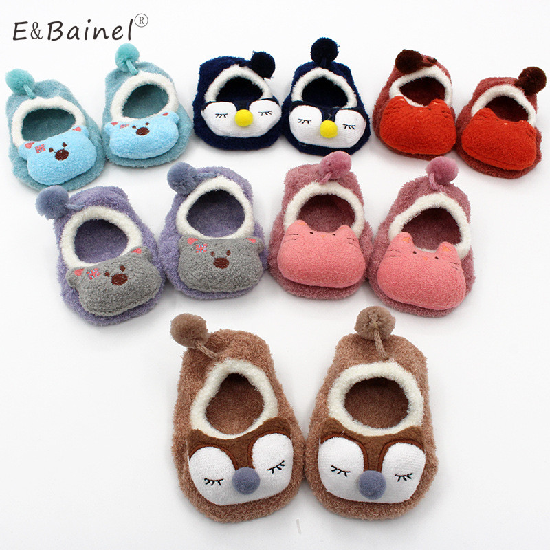Winter Baby Girl Socks Newborn Animal Cartoon Baby Socks Shoes Slippers Boots Soft Warm Coral Fleece Indoor Infant Socks