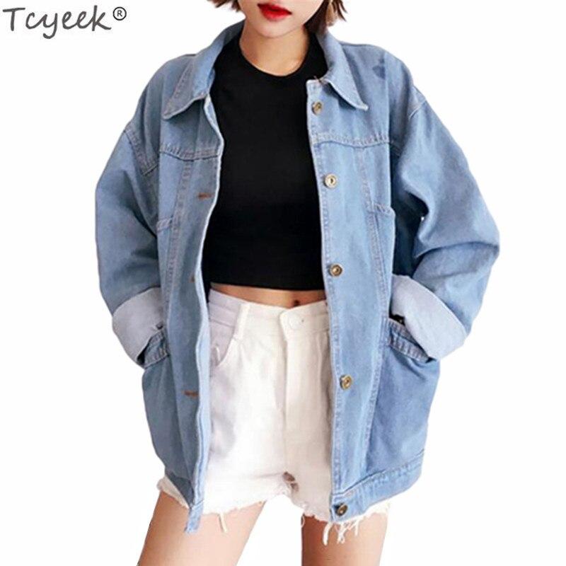 Tcyeek Denim Jacket For Women 2020 Spring Long Sleeve Female Jackets Office Ladies Autumn Coat Fashion Loose Style Coats LWL315
